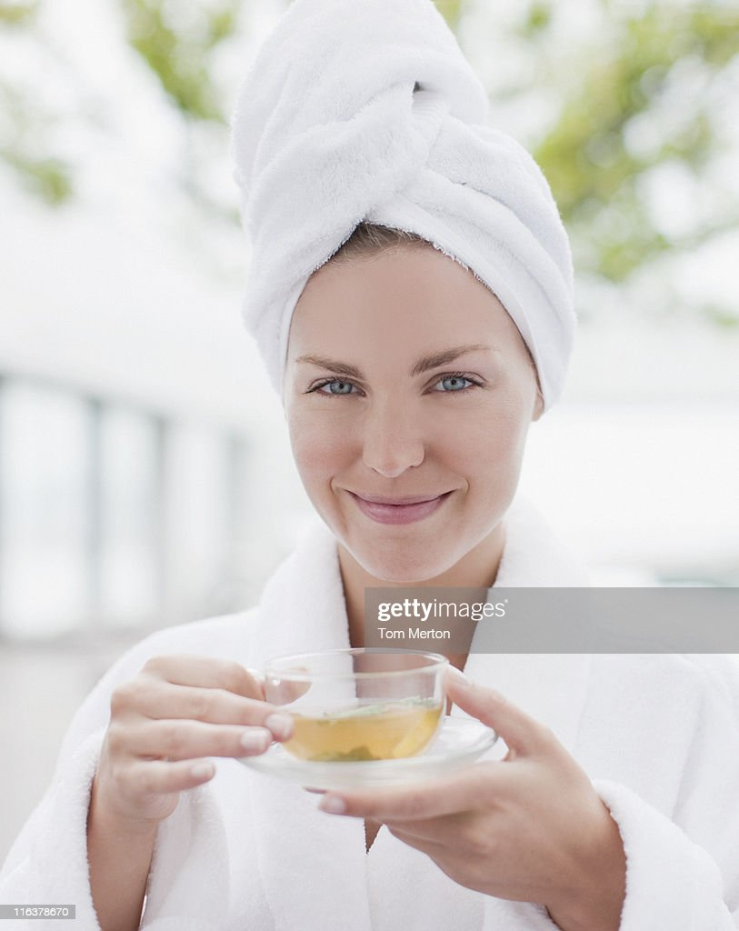 Close up of woman drinking tea : Stock Photo