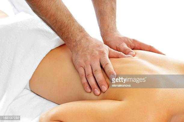 Close up of woman getting a back massage