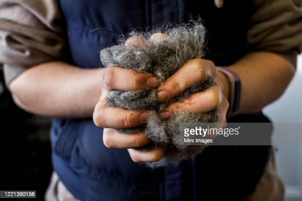 close up of woman holding bunch of horse hair filling for saddle. - herbivorous stock pictures, royalty-free photos & images