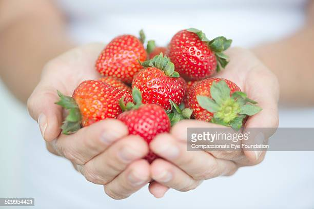 "close up of woman holding strawberries - ""compassionate eye"" stock-fotos und bilder"