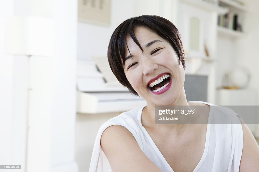 Close up of woman laughing : Stock Photo