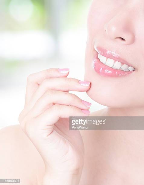 close up of woman mouth and teeth