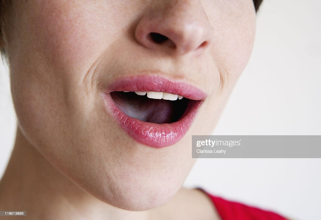 Close up of woman singing : Stock Photo