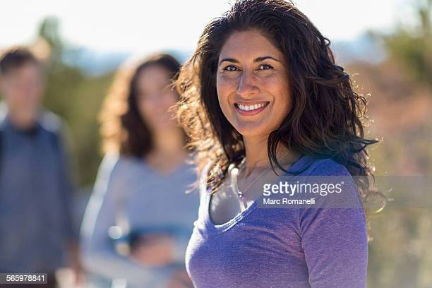 close up of woman smiling outdoors - 30 39 years stock pictures, royalty-free photos & images