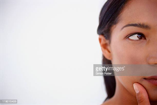 Close up of woman thinking