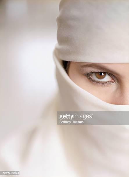 Close Up of Woman Wearing Burka
