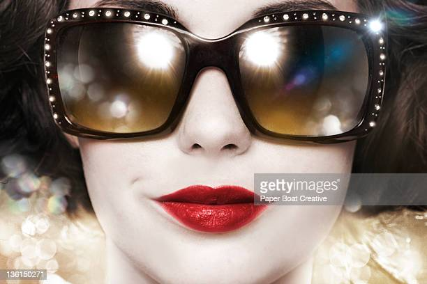 close up of woman with designer sun glasses - celebritet bildbanksfoton och bilder