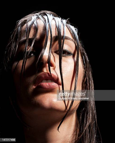 Close up of woman with wet hair
