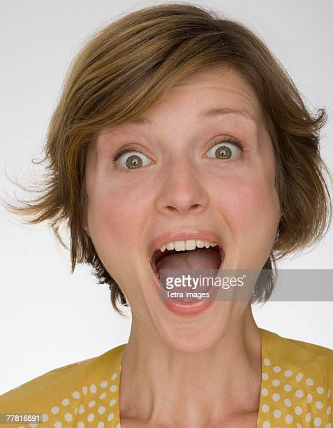 Close up of woman yelling