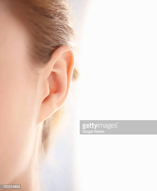 Close up of woman's ear.