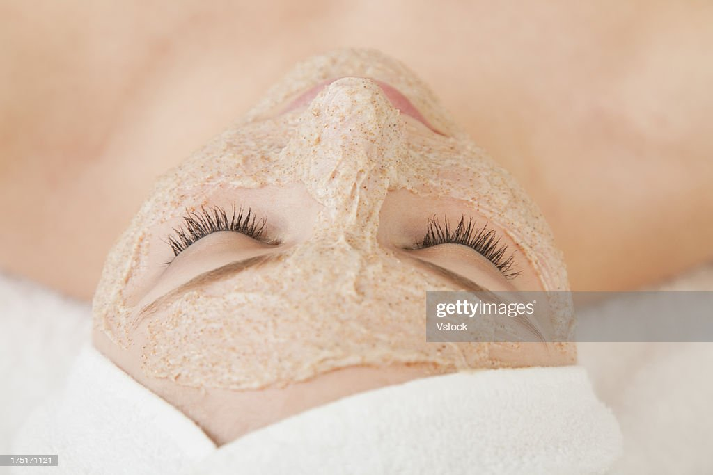 Close up of woman's face with beauty mask applied, Studio shot : Stock Photo