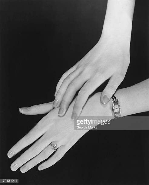 Close up of woman's hands (B&W)