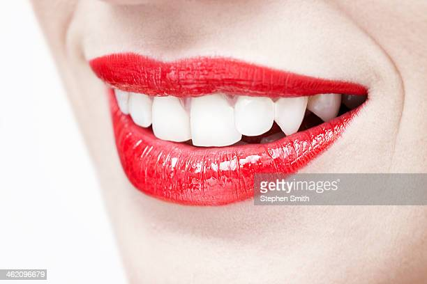 close up of womans teeth