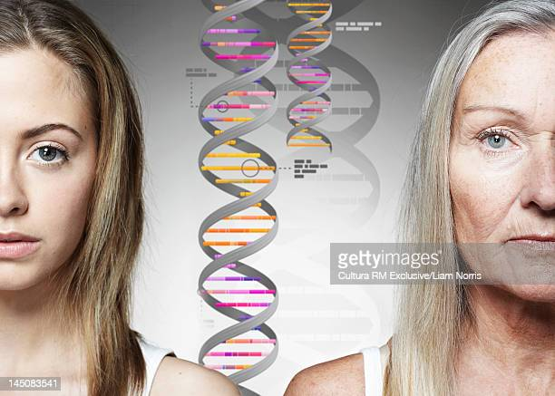 Close up of women and DNA helixes