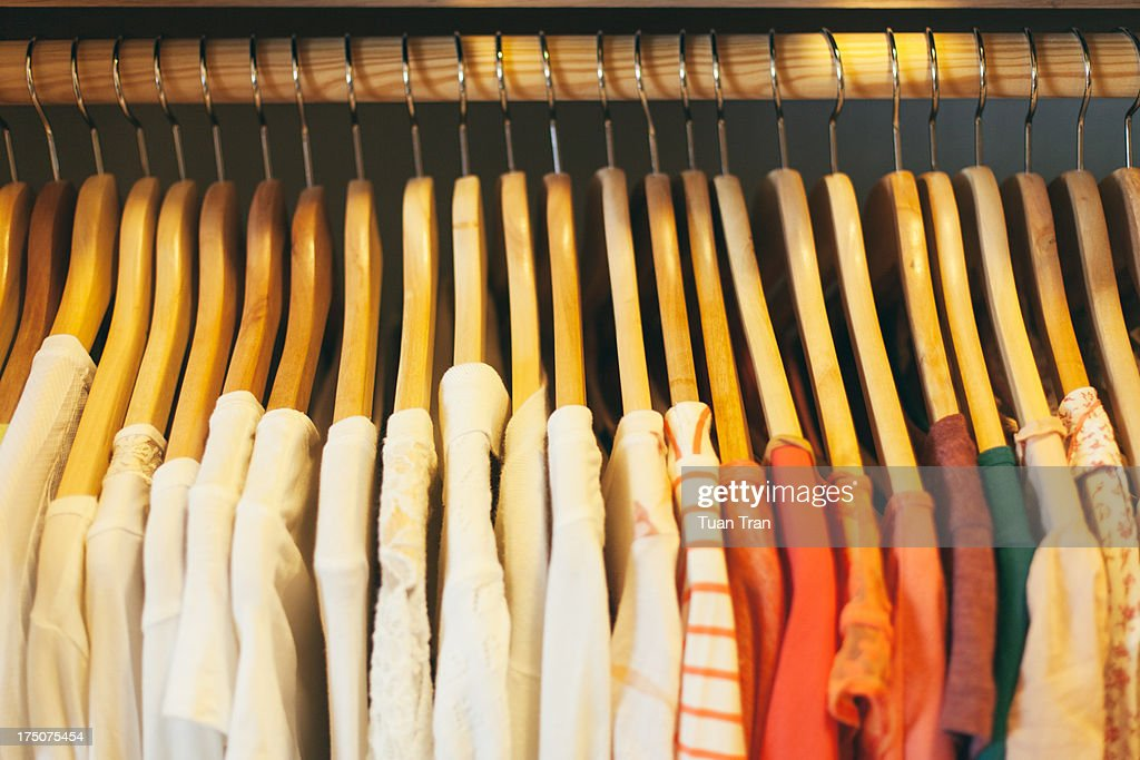 close up of wooden clothes hangers : Stock Photo
