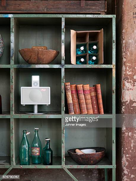 Close up of wooden shelf