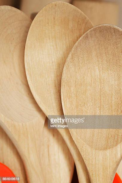 Close up of wooden spoons.