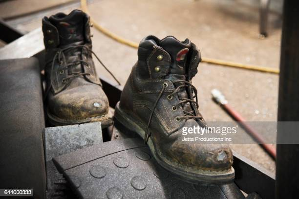 close up of work boots - pair stock pictures, royalty-free photos & images