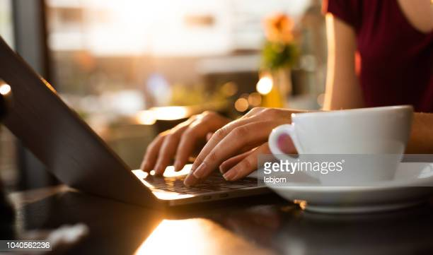 close up of working on laptop. - close up stock pictures, royalty-free photos & images