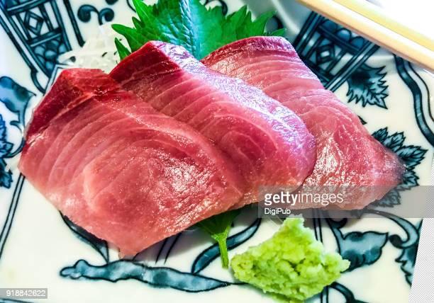 Close up of yellowtail sashimi