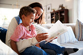 Close up of young mother sitting on a sofa in the living room reading a book with her toddler son, who is sitting on her knee, side view