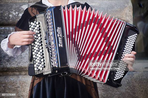 close up of young woman playing accordion. - traditional musician stock photos and pictures