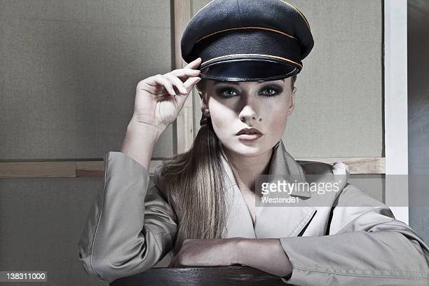 Close up of young woman police officer, portrait