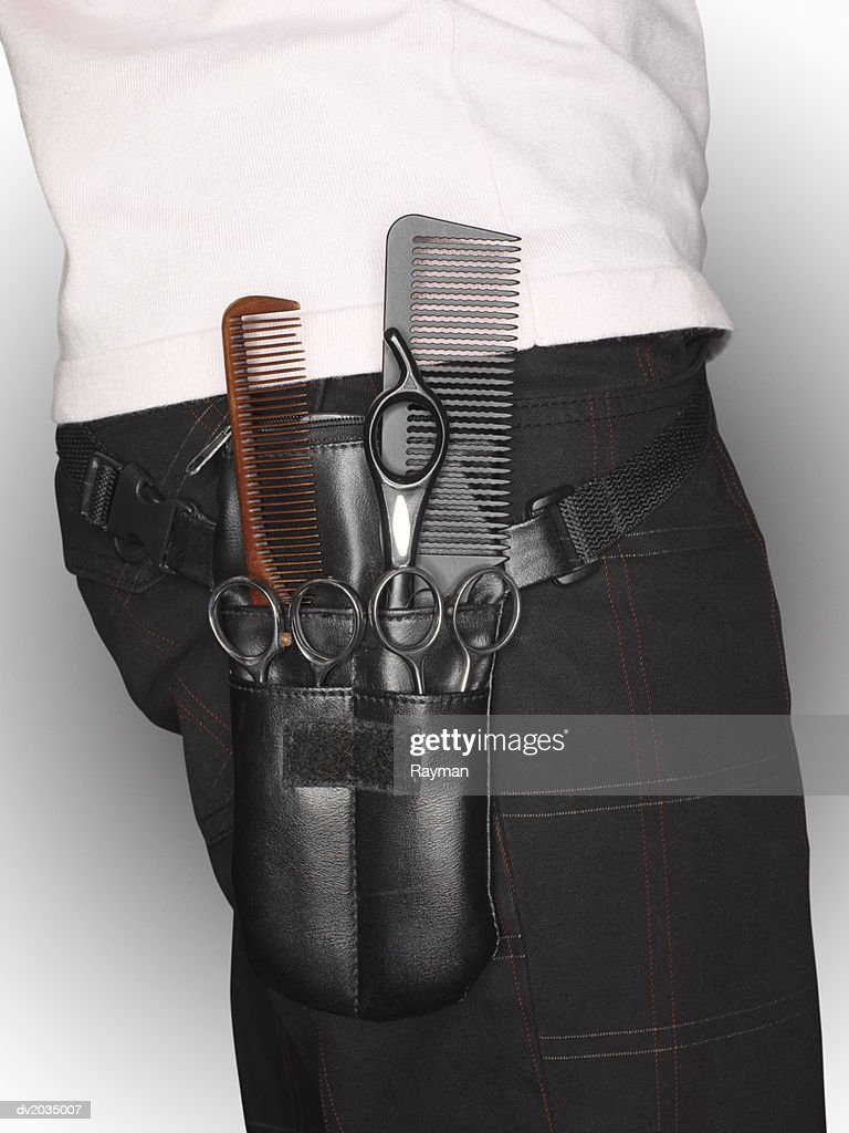 Close up on a Hairdresser's Equipment Belt : Stock Photo