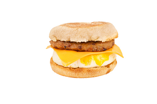 Close up on a sandwich breakfast isolated on white background. 1088783998