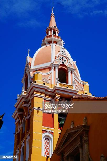 Close Up on Bell Tower, Cathedral of Santa Catalina de Alejandria, Cartagena, Colombia