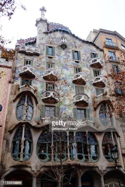 Close up on Casa Batlló, Facade, Barcelona, Spain