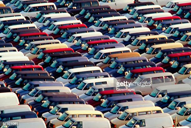Close up on Chevrolet Mini Vans lined up ready for shipping in Baltimore, Maryland