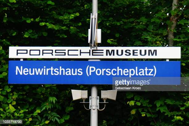 Close Up on Colourful Porsche Museum Sign at Station, Stuttgart, Germany