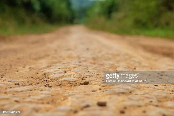 Close up on dirt track on Septembre 25, 2018 in Bunjako island, Mpigi district, Uganda.