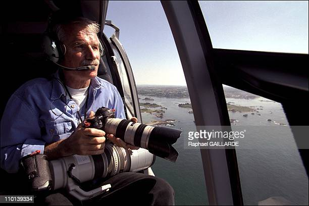 Close up on eccentric photographer Yann Arthus Bertrand in France in July 2001