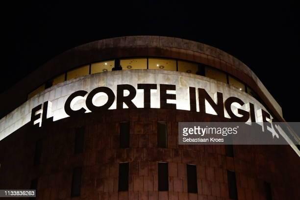 Close Up on El Corte Ingles Building, Night in Barcelona, Spain