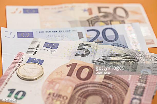 Close up on european money