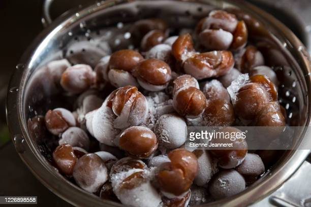 close up on frozen mirabelle plums, nancy, france. - brown stock pictures, royalty-free photos & images