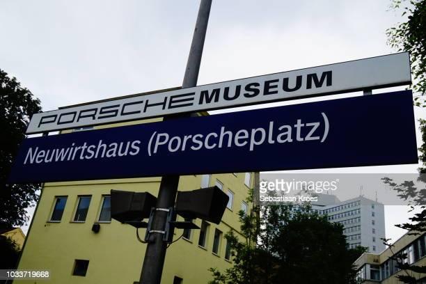 Close Up on Porsche Museum Sign, Stuttgart, Germany