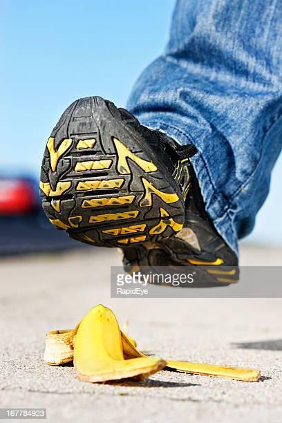 クローズアップを靴底の接近バナナ肌:申し訳ございません。