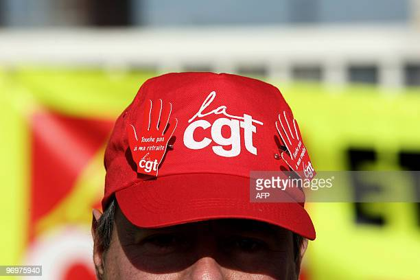 Close up on the cap of a tradeunion CGT worker taken on February 19 2010 at the Gonfreville l'Orcher French oil giant Total refinerie western France...