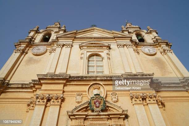 Close up on the facade of the Cathedral, Mdina, Malta