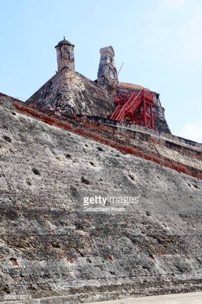 Close Up on the Fortress Named Castillo San Felipe, Cartagena Colombia