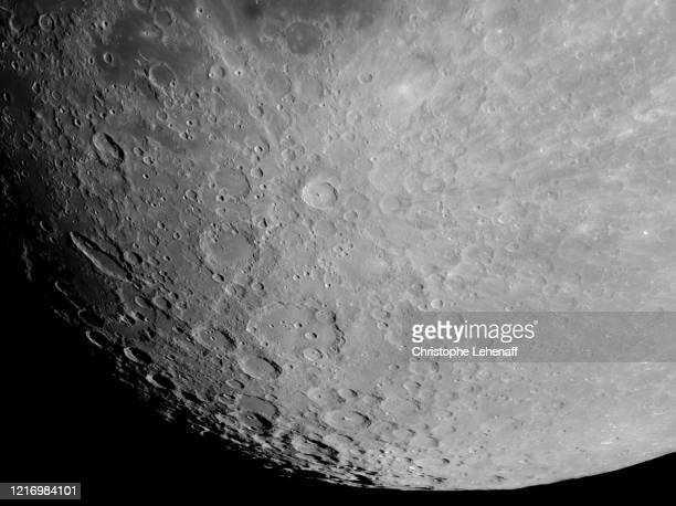 close up on the surface of the moon near the full moon - flower moon stock pictures, royalty-free photos & images