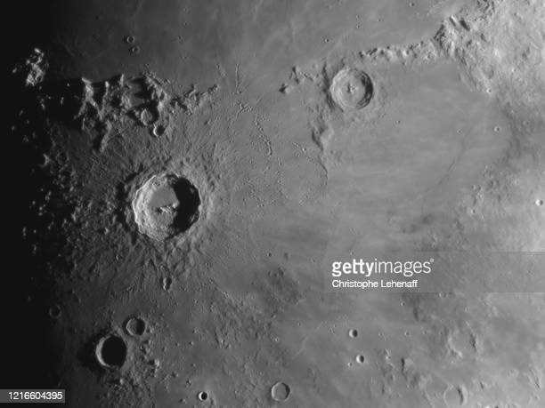 close up on the surface of the moon (age 9 days) - meteor stock pictures, royalty-free photos & images