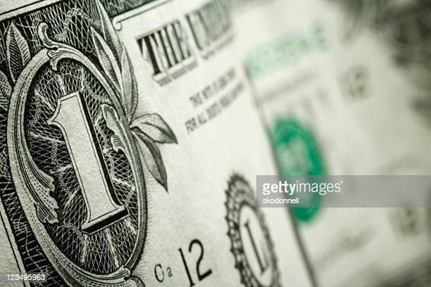 close up one dollar bill - one dollar bill stock pictures, royalty-free photos & images