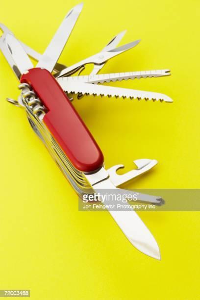 Close up open pocket knife