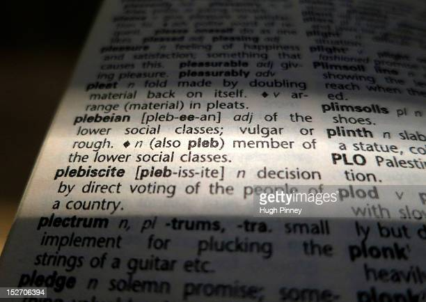 A close up Photo illustration showing a dictionary definition of the word plebeian shortened to pleb September 24 2012 in London England Conservative...