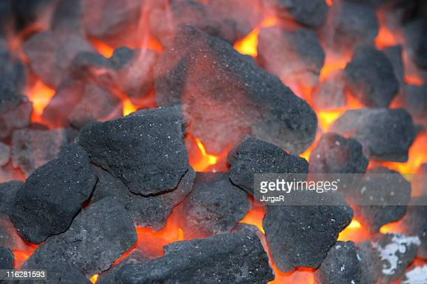 Close up photo of charcoal burning