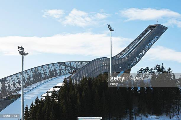 close up photo of holmenkollen ski jump in winter. - ski jumping stock pictures, royalty-free photos & images